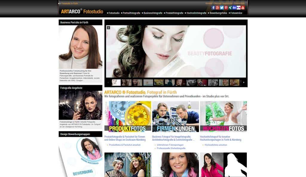 Vor Relaunch - ARTARCO Webseite - 2013
