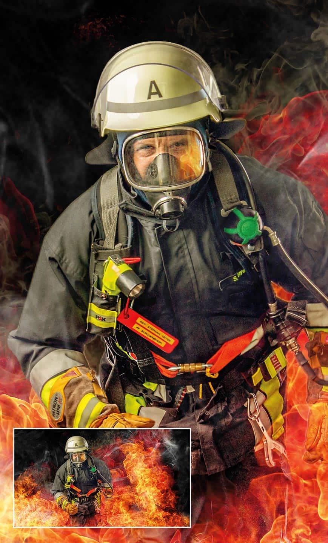 Feuerwehrmann rennt durch das Feuer